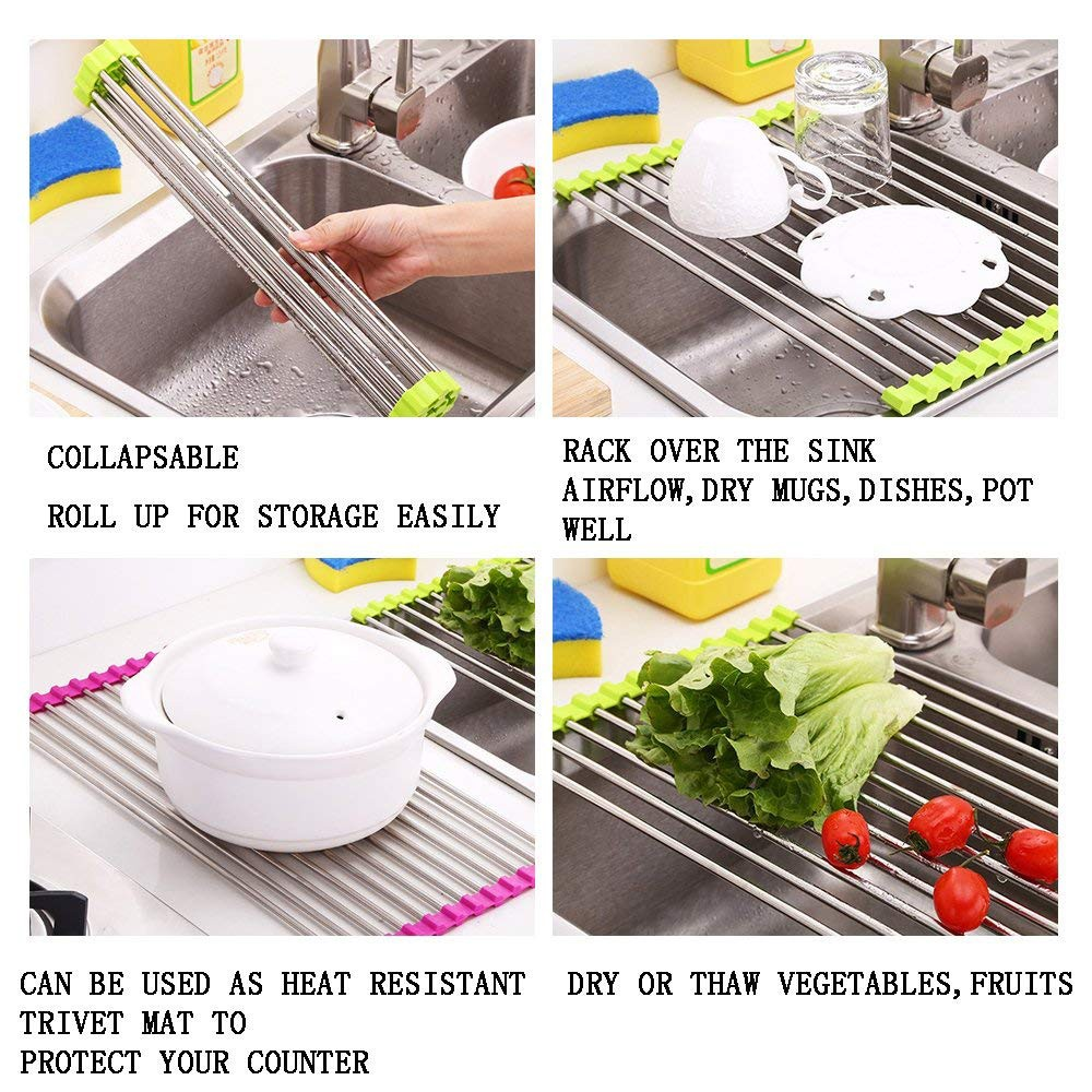Over the Sink Dish Drainer Rack, Stainless Steel Roll-Up Sink Rack for Drying Vegetables and Fruit, mugs, plate 2