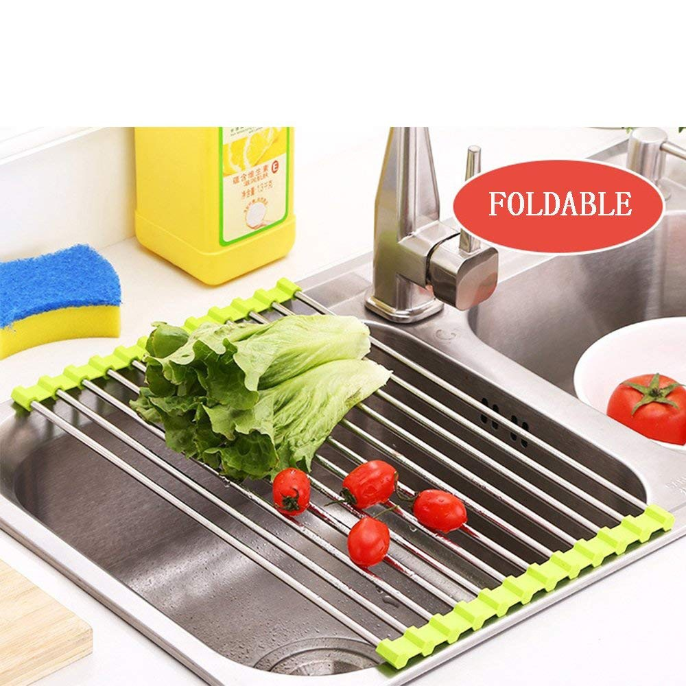 Over the Sink Dish Drainer Rack, Stainless Steel Roll-Up Sink Rack for Drying Vegetables and Fruit, mugs, plate 4