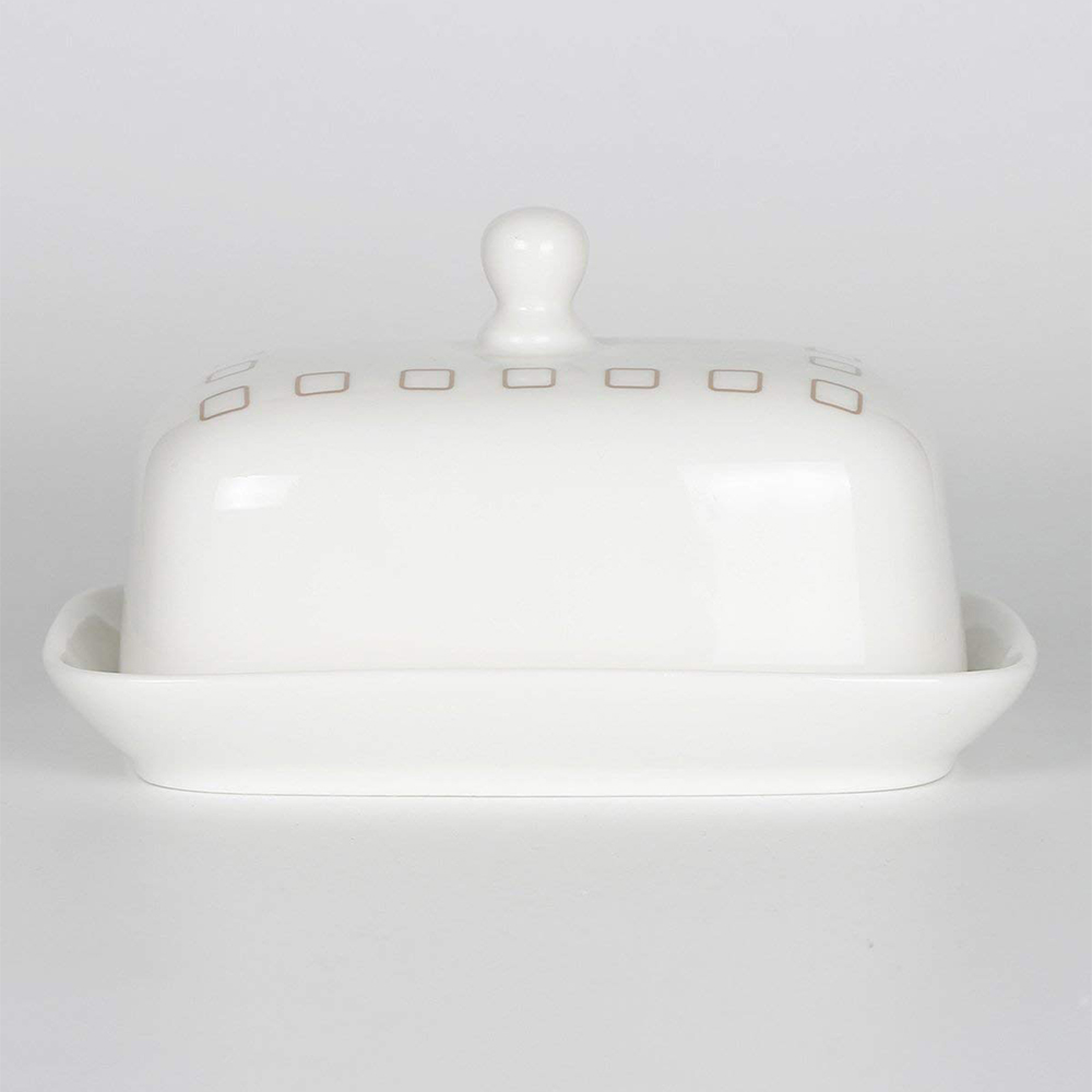 Ceramic Butter Dish with Handle Lid, Quality Porcelain Cream Container 0