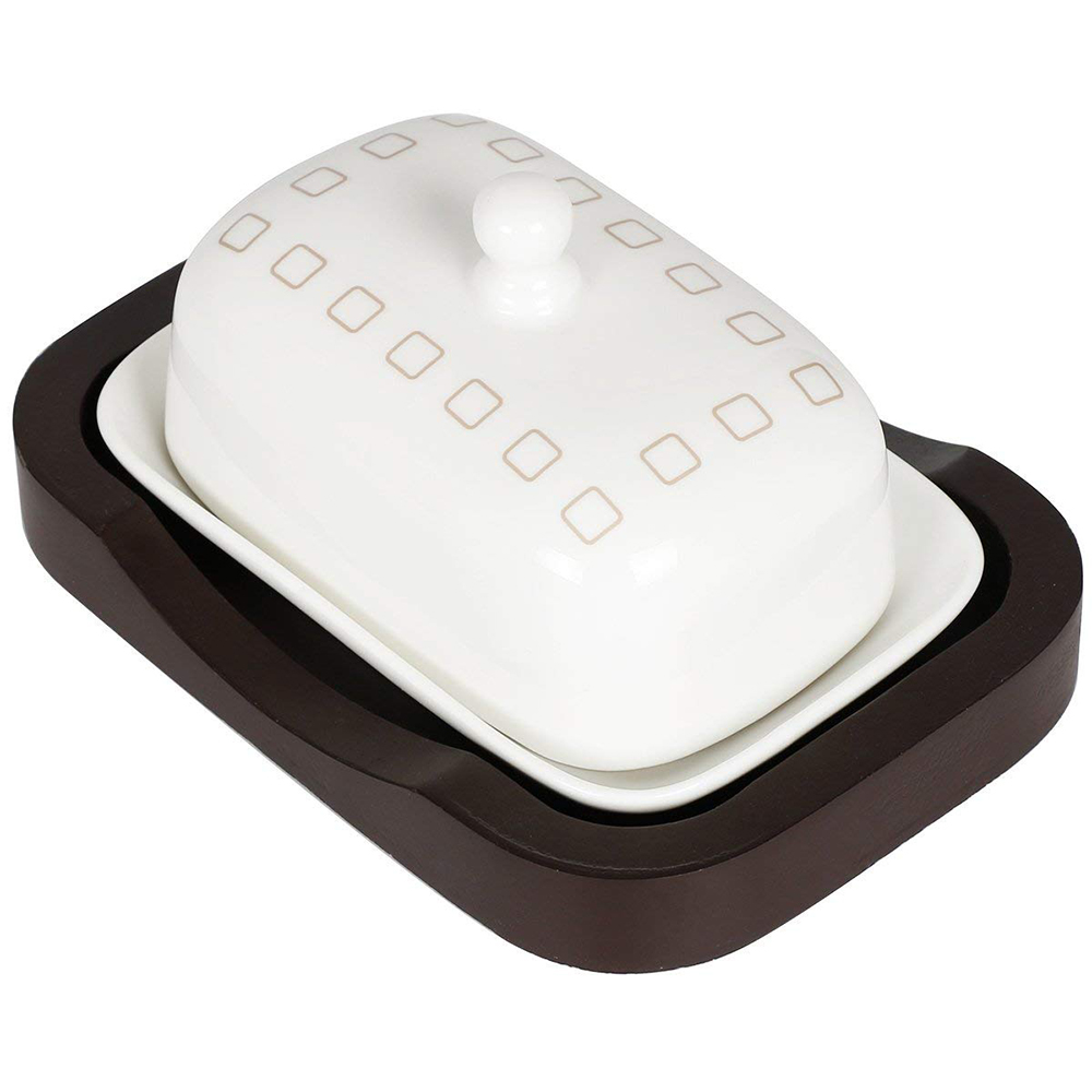 Ceramic Butter Dish with Handle Lid, Quality Porcelain Cream Container 2