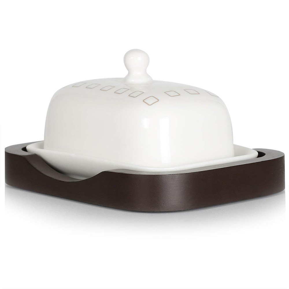 Ceramic Butter Dish with Handle Lid, Quality Porcelain Cream Container 1