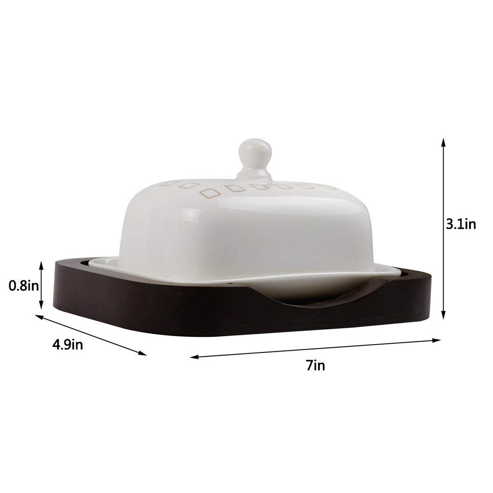 Ceramic Butter Dish with Handle Lid, Quality Porcelain Cream Container 3