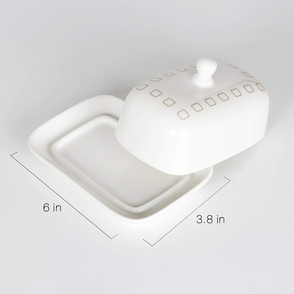 Ceramic Butter Dish with Handle Lid, Quality Porcelain Cream Container 7