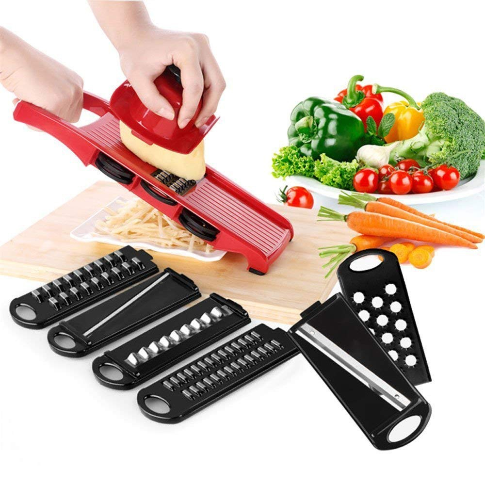 Multipurpose Mandoline Vegetable Slicer with Safty Handguards and 6 Stainless Steel Blades 6