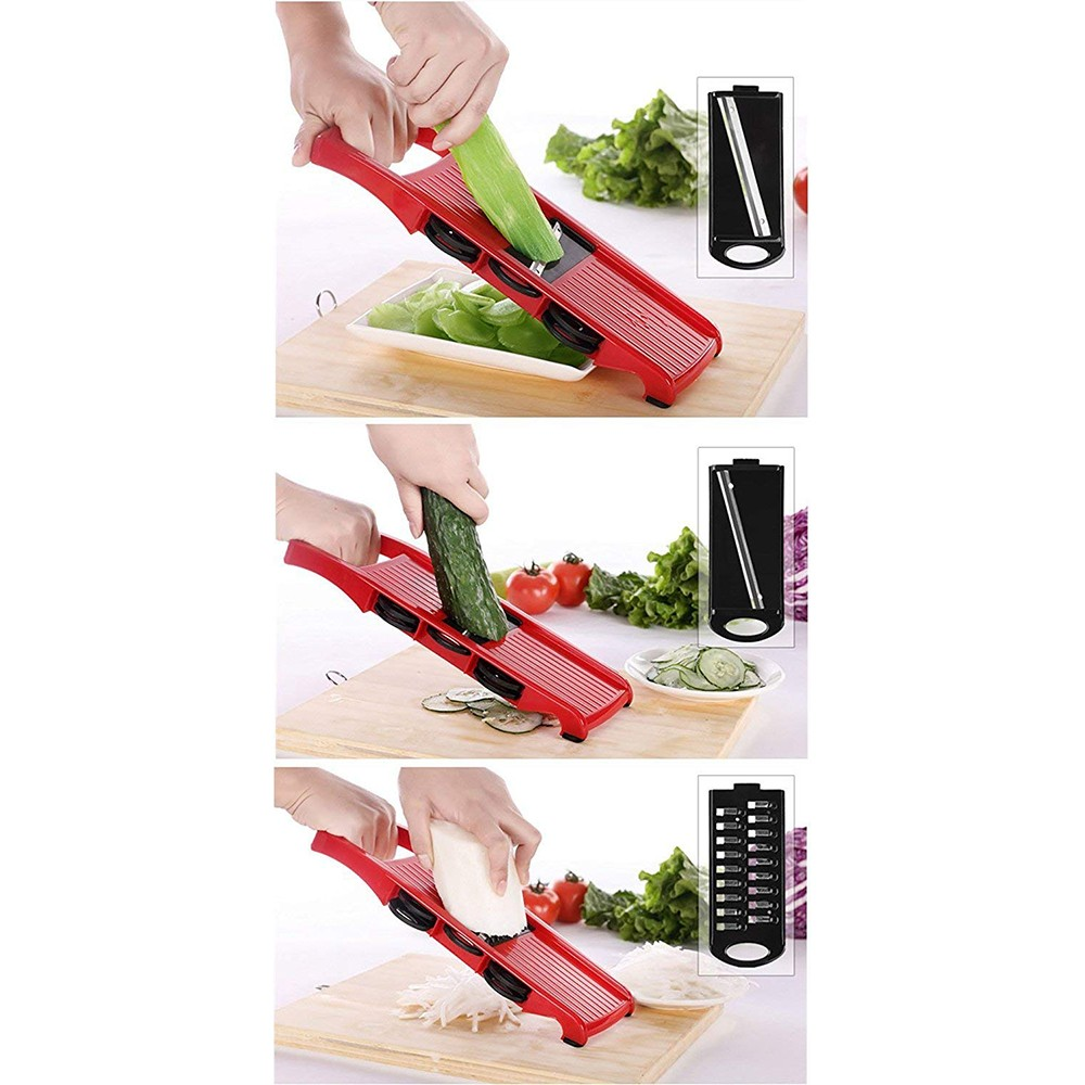Multipurpose Mandoline Vegetable Slicer with Safty Handguards and 6 Stainless Steel Blades 3