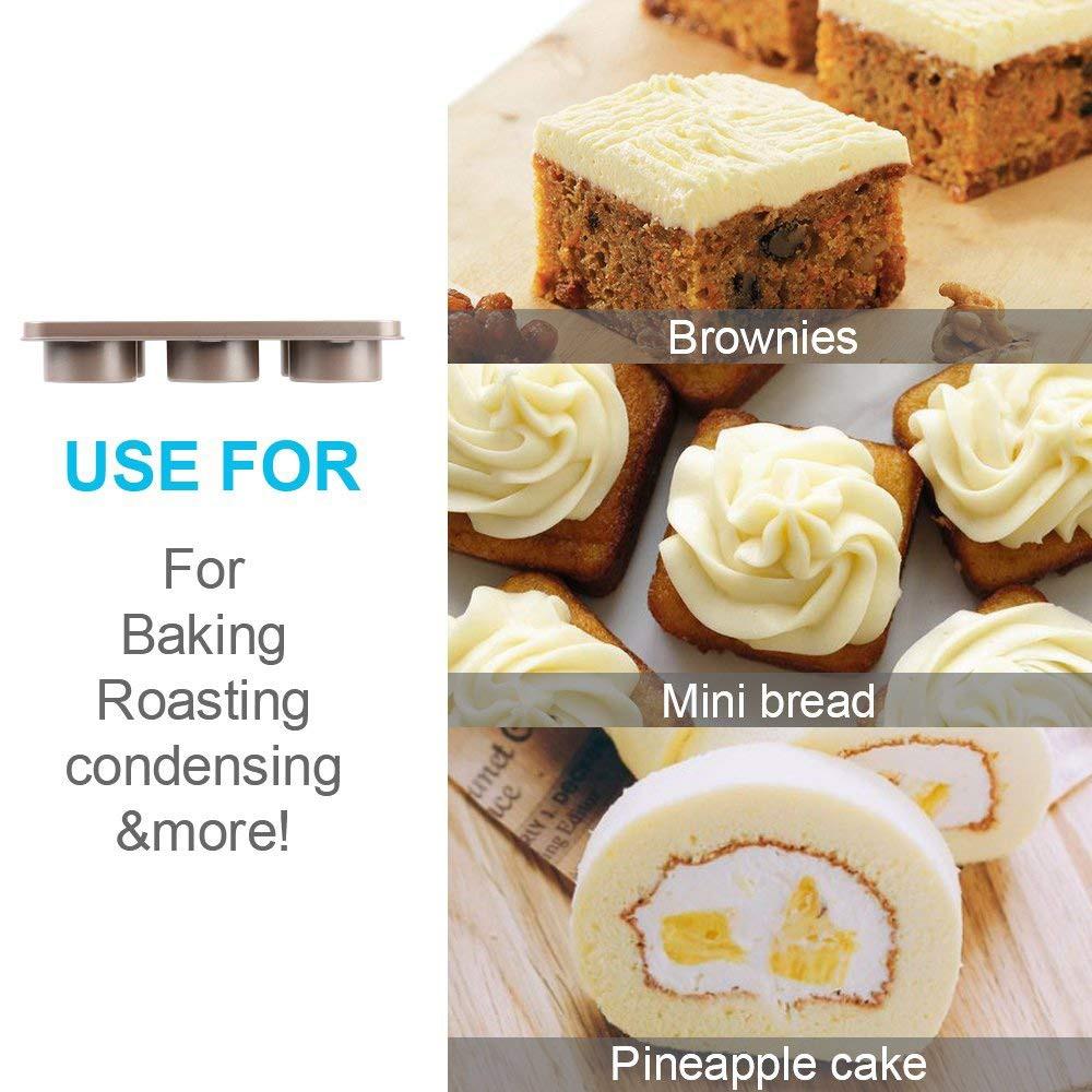 Professional Non-stick Bakeware 6-Cup Cake Mold, Carbon Steel Multi-fuctional Muffin Pan, Cupcake Pan, Baking Pan 3