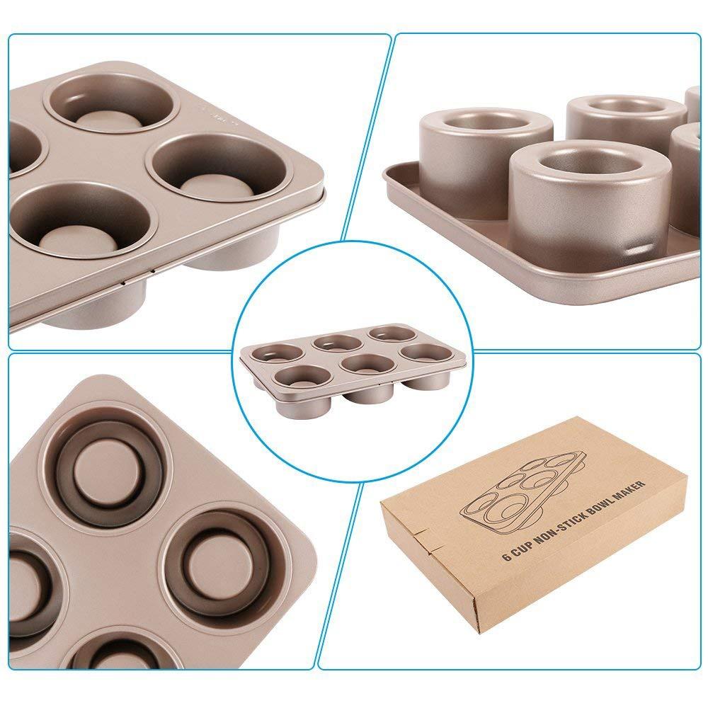 Professional Non-stick Bakeware 6-Cup Cake Mold, Carbon Steel Multi-fuctional Muffin Pan, Cupcake Pan, Baking Pan 4