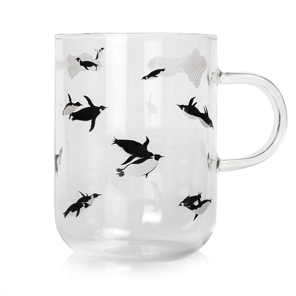 Cute Glass Coffee Mug with Penguins Print, Unique Personalized Clear Tea Cup, 16 oz 3