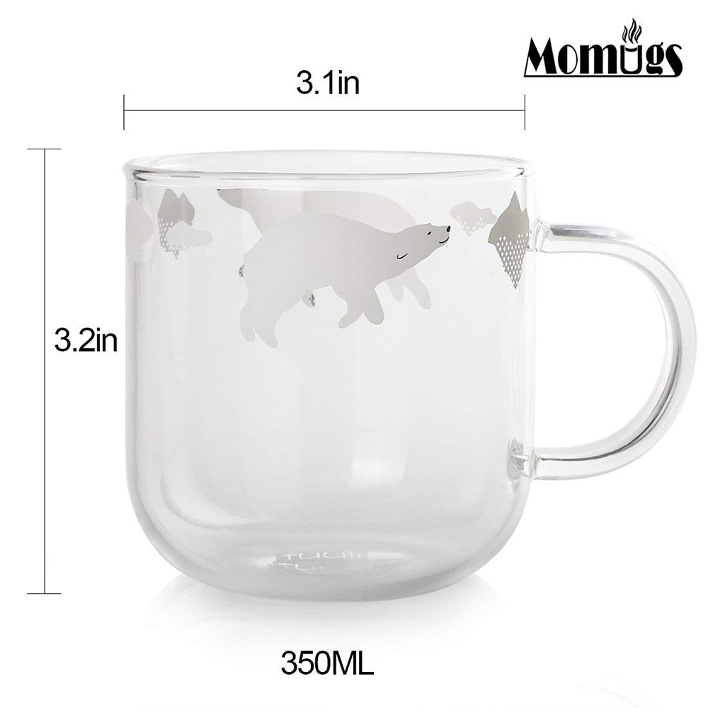 Cute Glass Coffee Mug with Penguins Print, Unique Personalized Clear Tea Cup, 16 oz 6