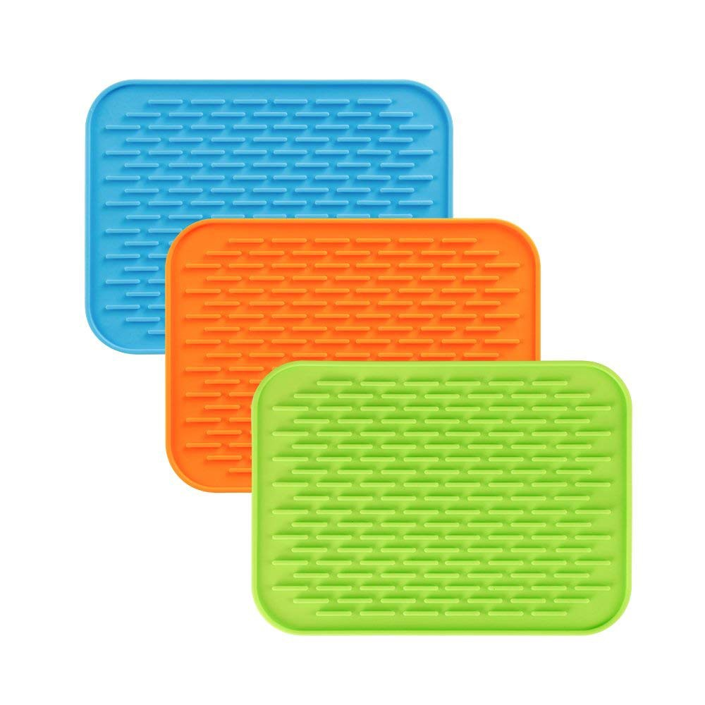 Heat Resistant Silicone Trivet Mat Pot Holder, Multi-Purpose Non-Slip Pot Mat Kitchen Tool, Pack of 3 6