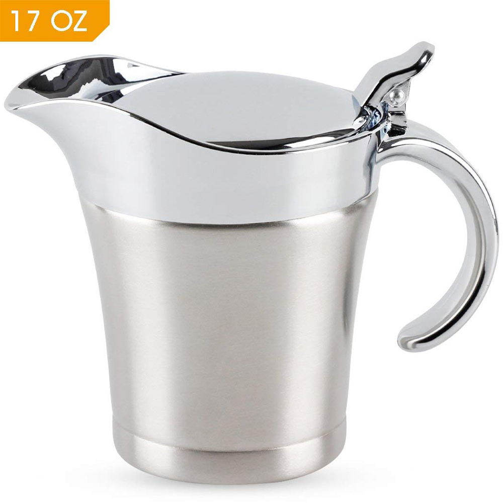 Stainless Steel Gravy Boat and Sauce Jug with Double Insulated Wall & Hinged Lid - 500 ml Large Capacity and Wide Spout For Ease Use 0