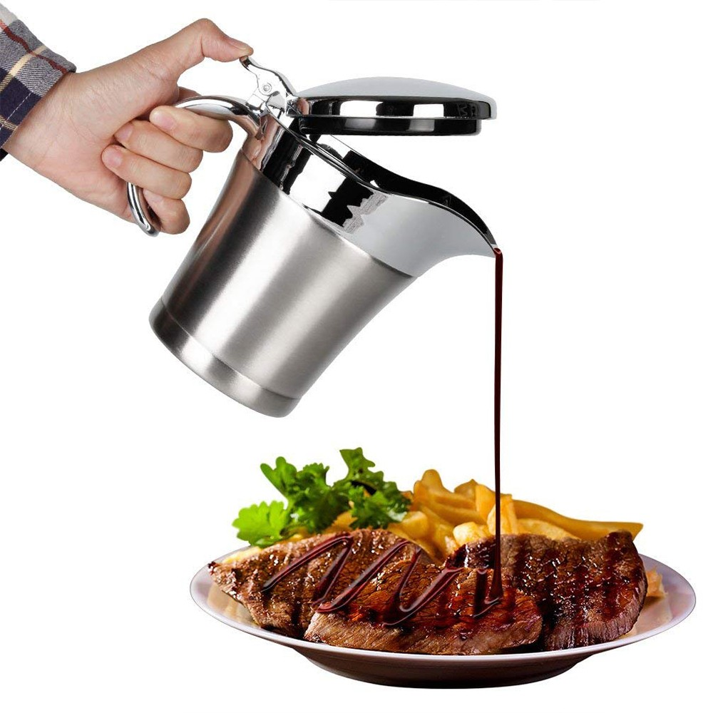 Stainless Steel Gravy Boat and Sauce Jug with Double Insulated Wall & Hinged Lid - 500 ml Large Capacity and Wide Spout For Ease Use 4