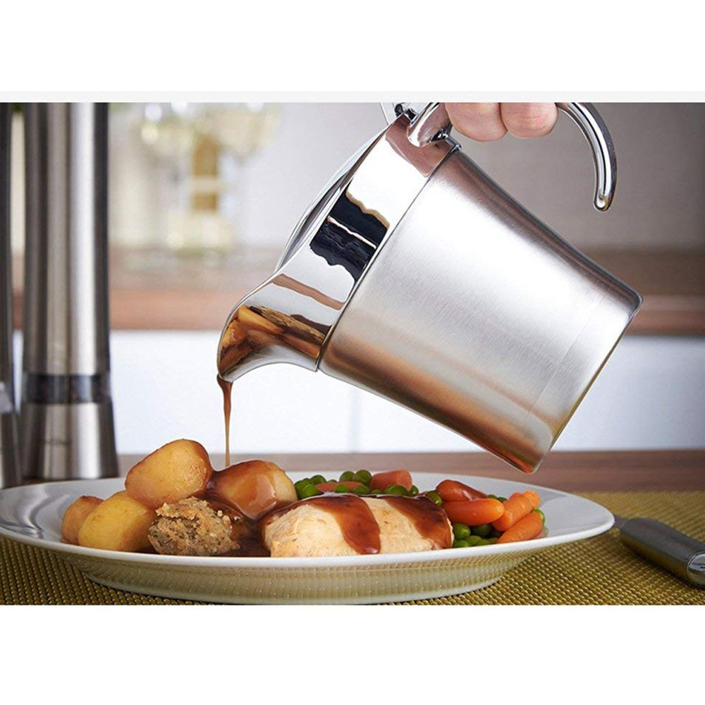 Stainless Steel Gravy Boat and Sauce Jug with Double Insulated Wall & Hinged Lid - 500 ml Large Capacity and Wide Spout For Ease Use 5