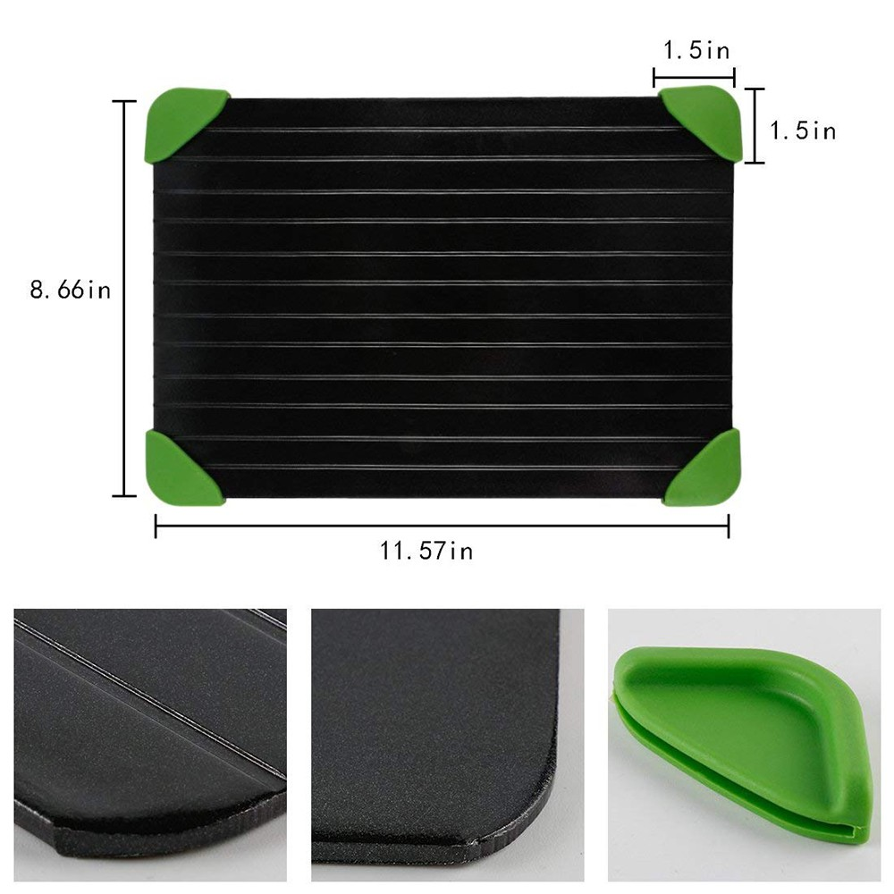 Defrosting Tray with Silicone Corner for Defrost Meat, Chicken, Steak & Frozen Food, Aluminum Thawing Trays for Defrost Frozen Food Quickly Without Electricity 0