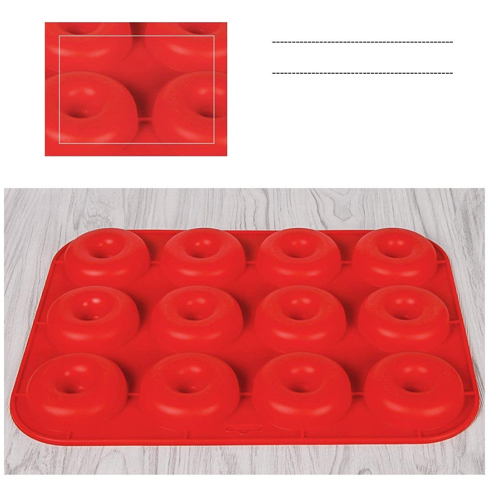 Heat Resistance Silicone Donut Baking Pan, Non-Stick BPA Free Donut Mold Baking Tray 2
