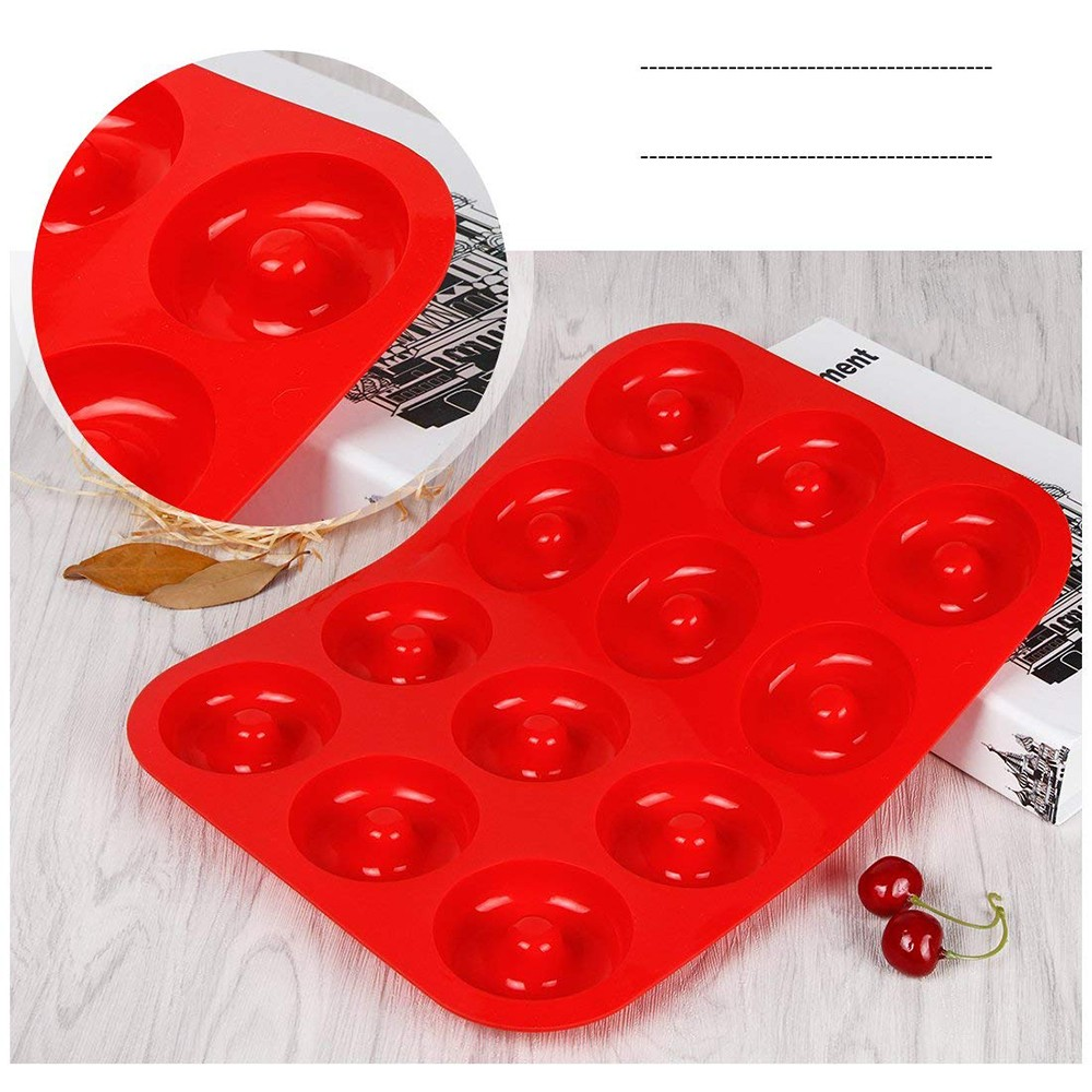 Heat Resistance Silicone Donut Baking Pan, Non-Stick BPA Free Donut Mold Baking Tray 4