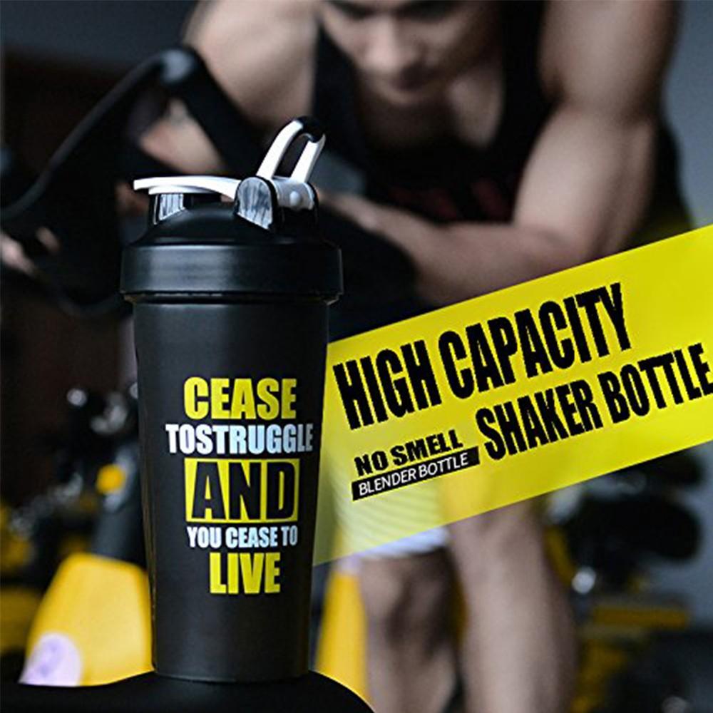 BPA-Free Protein Shaker Bottle, Leak proof Gym Bottle for Quick Easy Nutrition Supplement 22 oz, Black 0