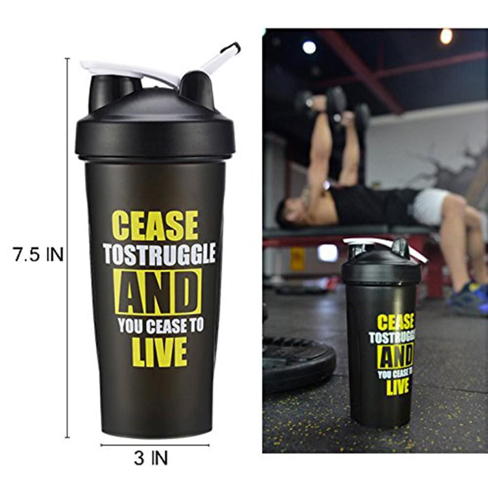 BPA-Free Protein Shaker Bottle, Leak proof Gym Bottle for Quick Easy Nutrition Supplement 22 oz, Black 3