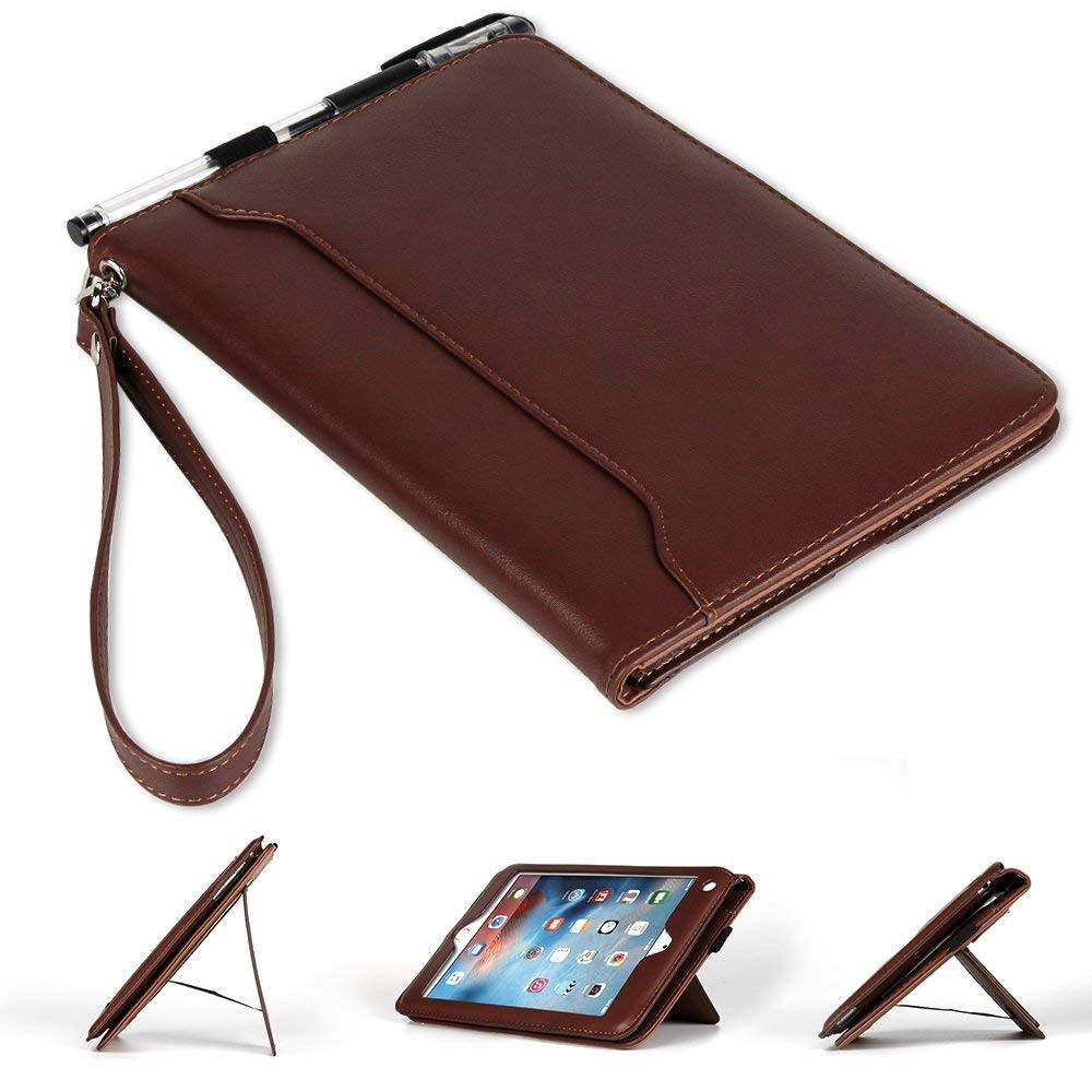 IPad Mini 4/3/2/1 Genuine Leather Case, Flip Folio [Kickstand Feature] Wallet Case Cover for Apple iPad Mini 1/Mini 2/Mini 3/Mini 4 6