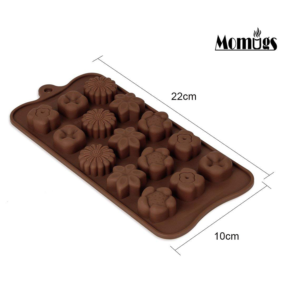 Non Stick Chocolate Candy Molds, Set of 4 BPA Free Silicone Decorating Jelly Molds - Flower Shapes 2