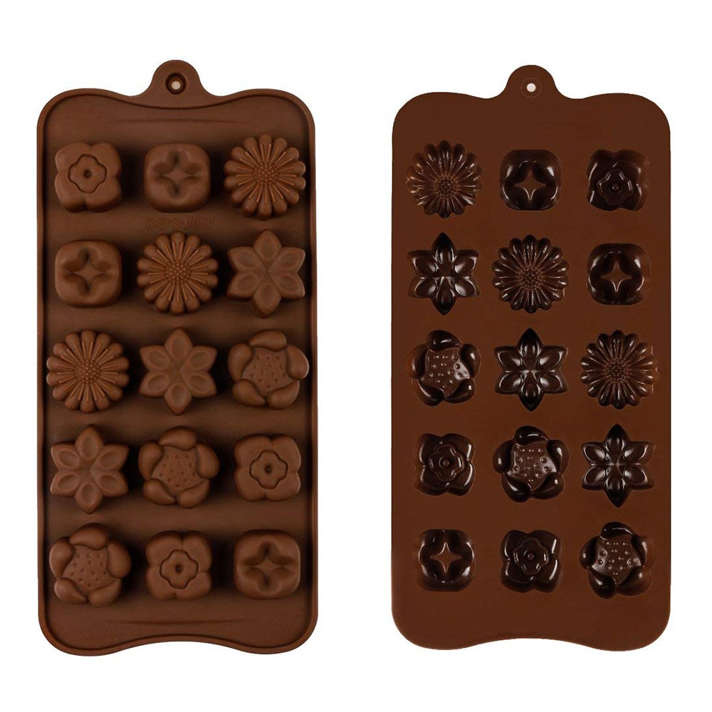 Non Stick Chocolate Candy Molds, Set of 4 BPA Free Silicone Decorating Jelly Molds - Flower Shapes 1