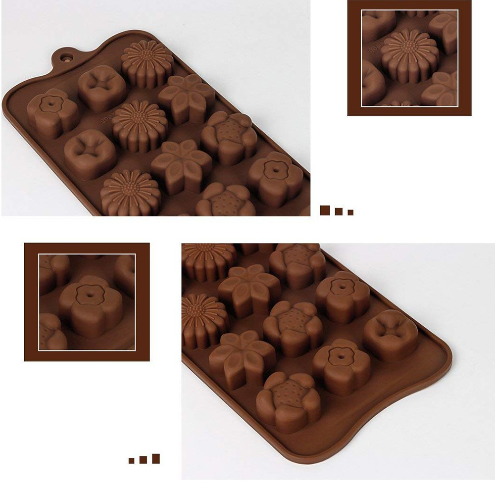 Non Stick Chocolate Candy Molds, Set of 4 BPA Free Silicone Decorating Jelly Molds - Flower Shapes 3