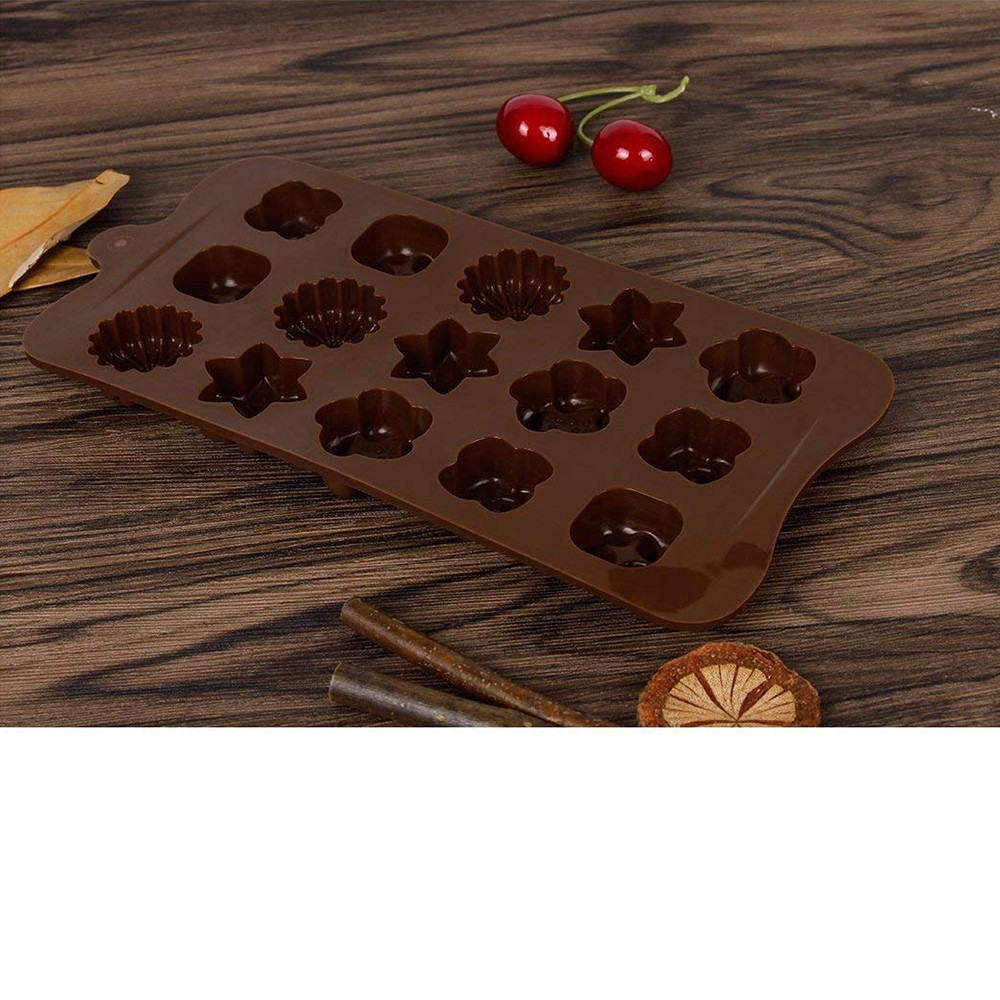 Non Stick Chocolate Candy Molds, Set of 4 BPA Free Silicone Decorating Jelly Molds - Flower Shapes 4