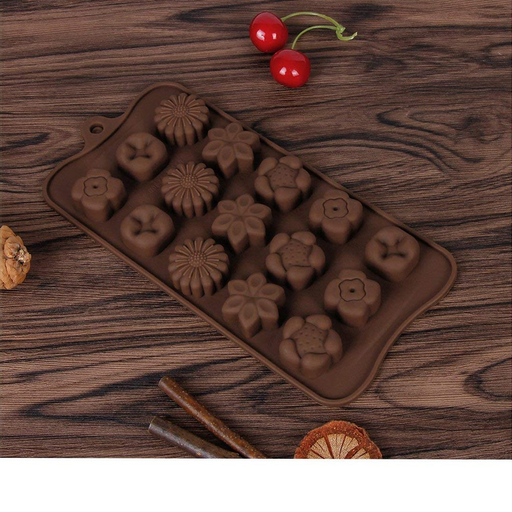 Non Stick Chocolate Candy Molds, Set of 4 BPA Free Silicone Decorating Jelly Molds - Flower Shapes 5