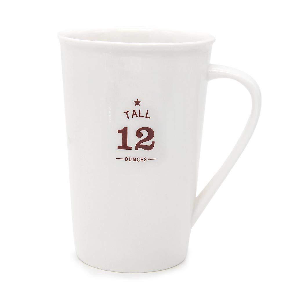 White Ceramic Coffee Mugs,12 oz Minimalism Milk Mug for Home and Office 0