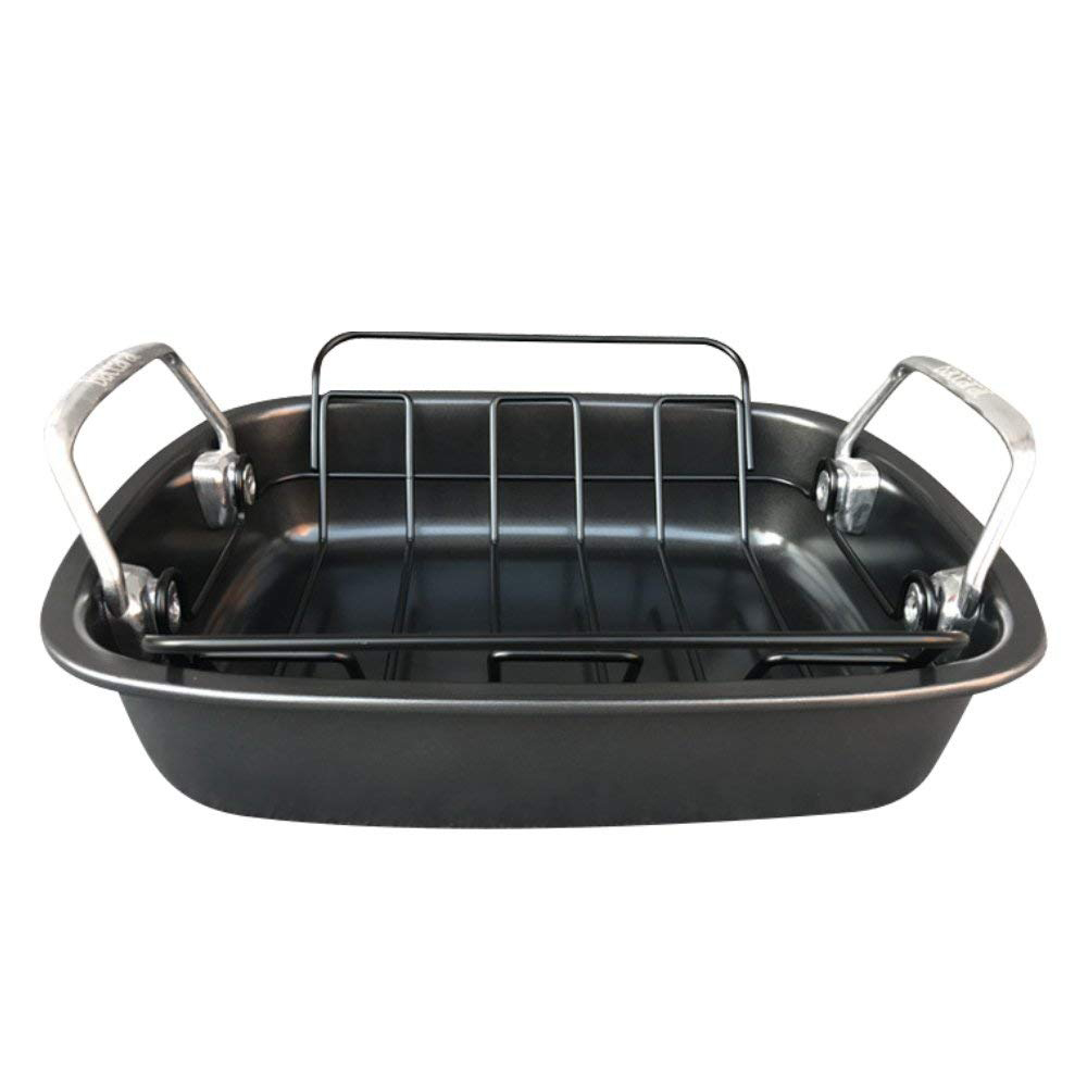 Carbon Steel Turkey Roasting Pan with Removable Non-Stick Rack 0