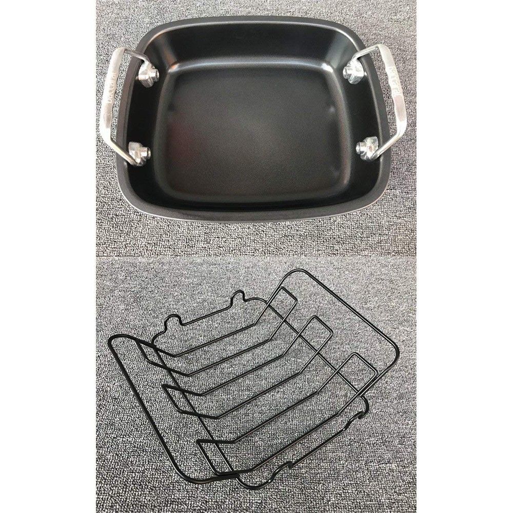 Carbon Steel Turkey Roasting Pan with Removable Non-Stick Rack 6