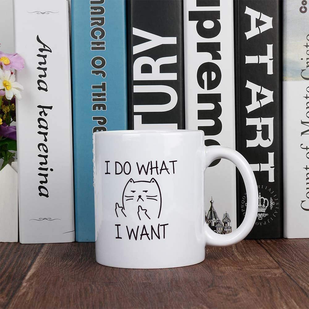 11 Oz Funny Coffee Mug, Cat Middle Finger Ceramic Mug/Cup 1