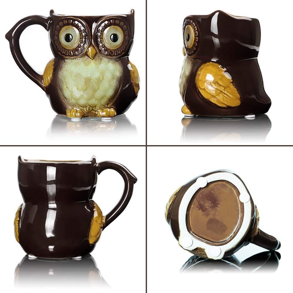 Funny Owl Ceramic Coffee Mug Tea Mugs,Cute Owl Morning Coffee Cup 12 oz 2