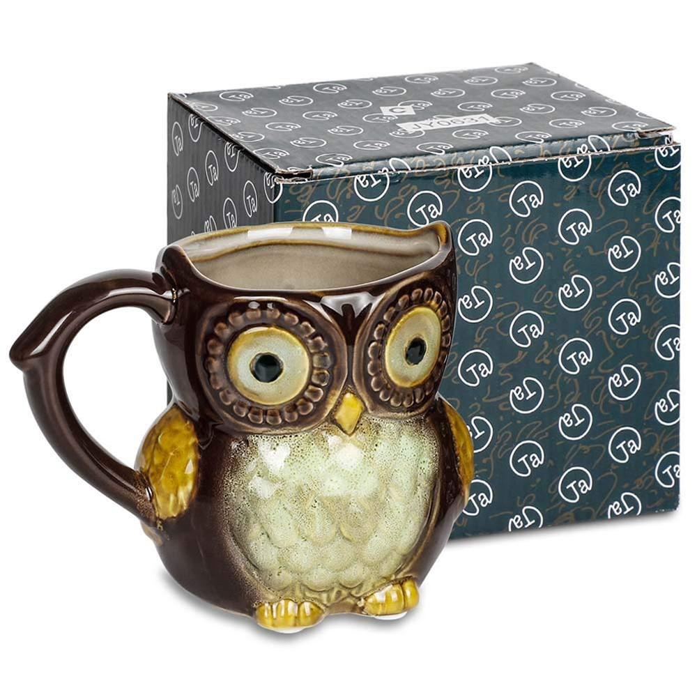 Funny Owl Ceramic Coffee Mug Tea Mugs,Cute Owl Morning Coffee Cup 12 oz 3