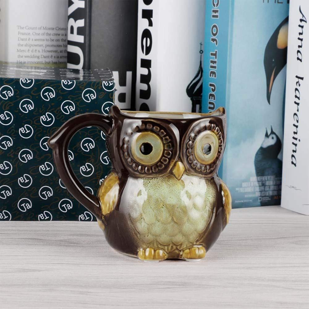 Funny Owl Ceramic Coffee Mug Tea Mugs,Cute Owl Morning Coffee Cup 12 oz 5