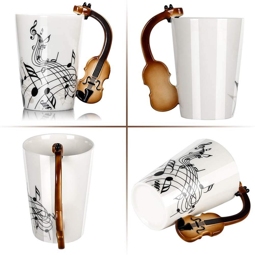 Novelty Coffee Mug with Unique Guitar Handle,Amazing Porcelain Tea Cup with Musical Instrument Notes - 10.2 Oz 0