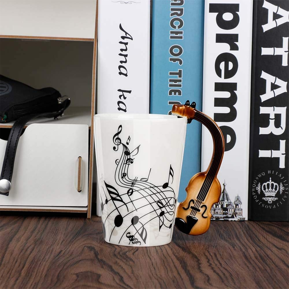Novelty Coffee Mug with Unique Guitar Handle,Amazing Porcelain Tea Cup with Musical Instrument Notes - 10.2 Oz 3