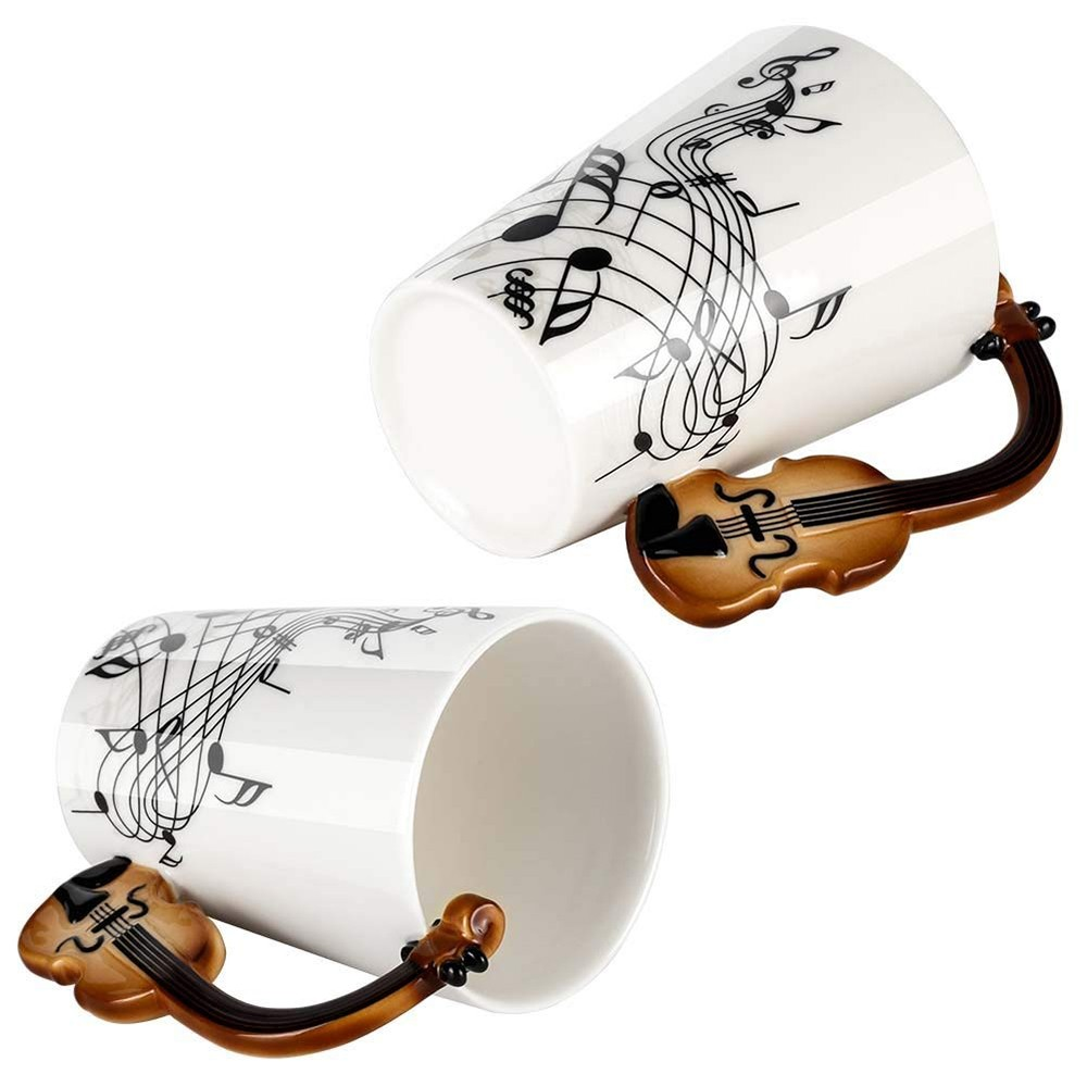 Novelty Coffee Mug with Unique Guitar Handle,Amazing Porcelain Tea Cup with Musical Instrument Notes - 10.2 Oz 4