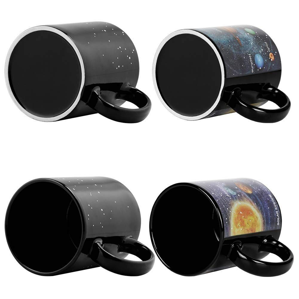 Heat Sensitive Color Changing Coffee Mug with Solar System Appear in the Night Sky,Novelty Porcelain Cup Tea Cup for Friends As Best Gift 0
