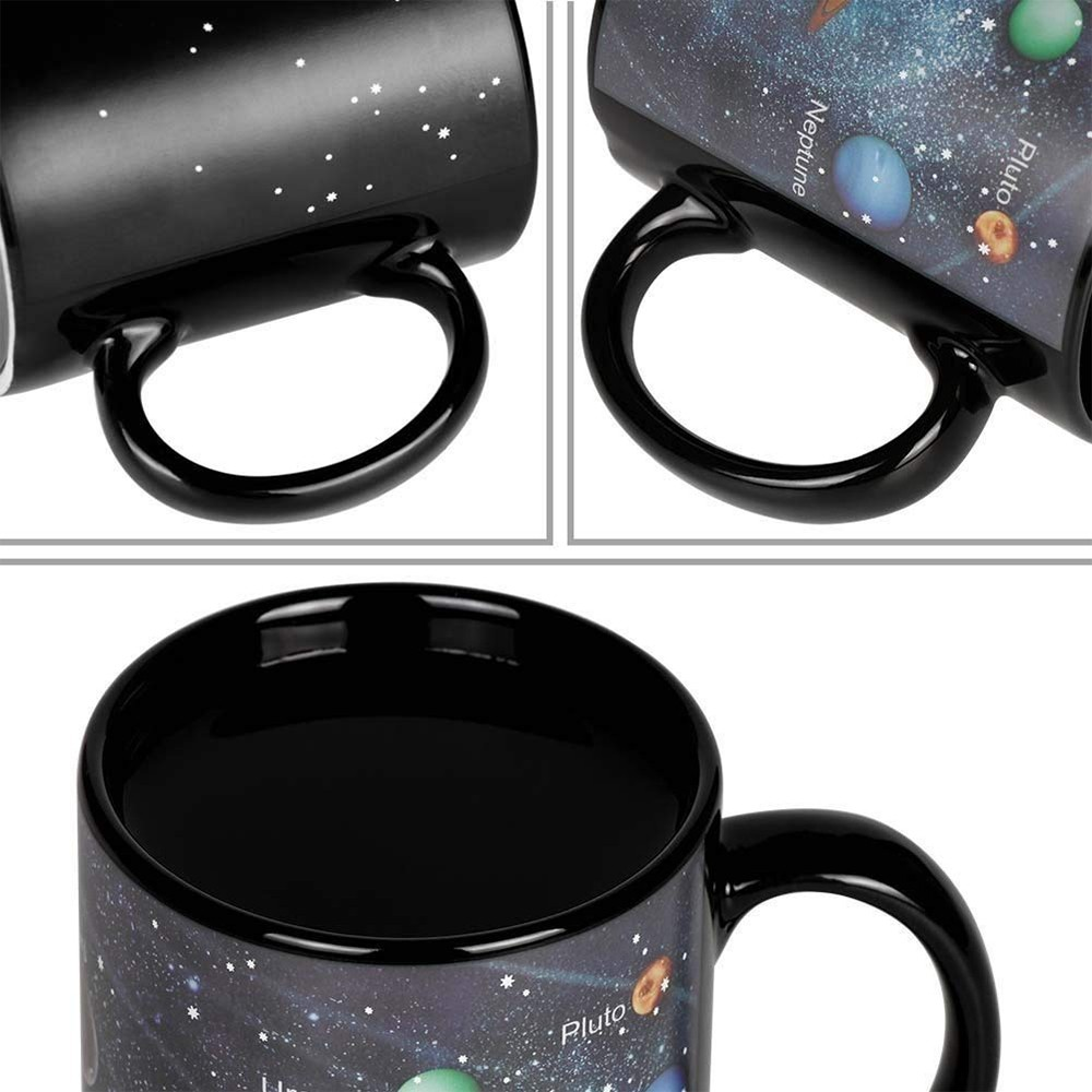 Heat Sensitive Color Changing Coffee Mug with Solar System Appear in the Night Sky,Novelty Porcelain Cup Tea Cup for Friends As Best Gift 1