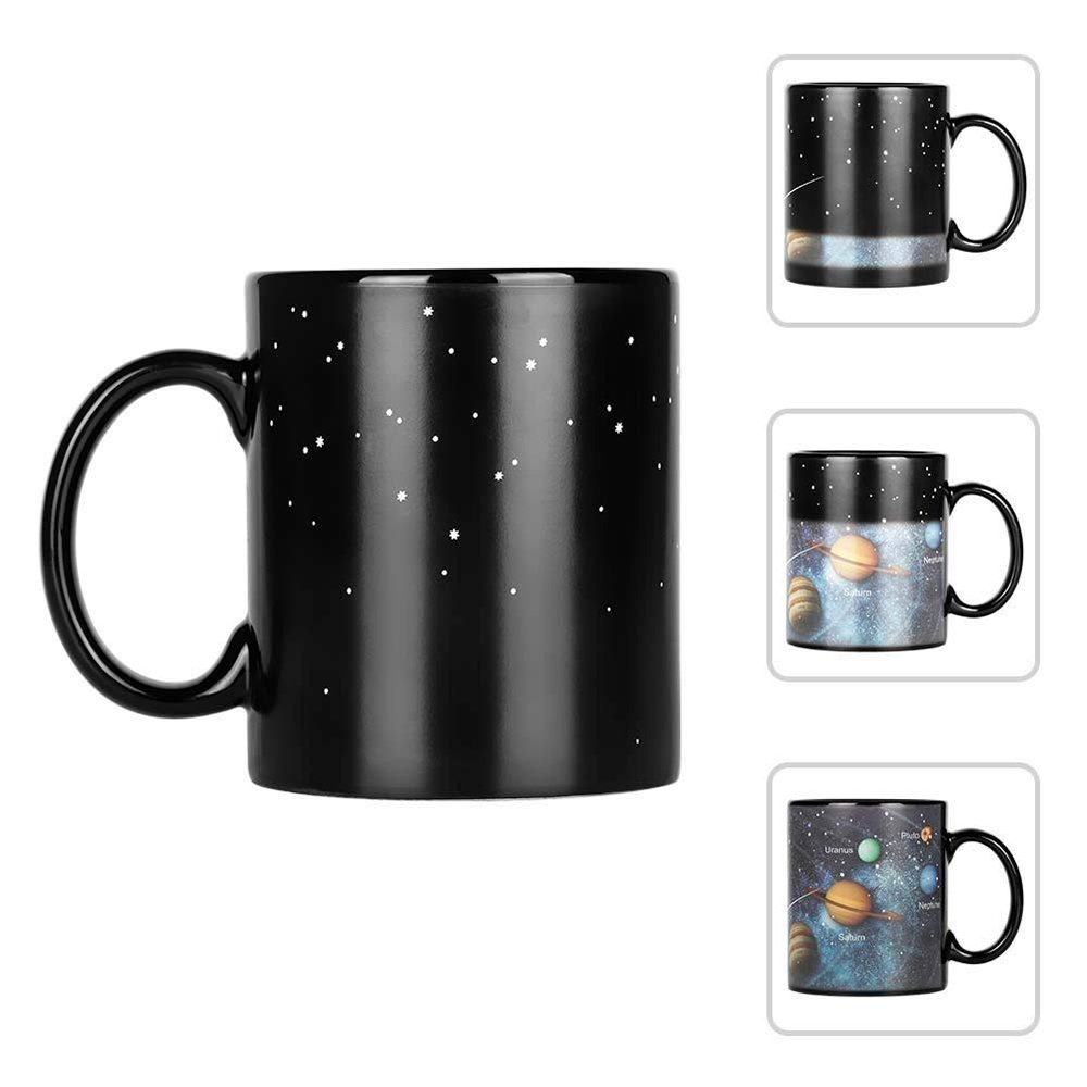 Heat Sensitive Color Changing Coffee Mug with Solar System Appear in the Night Sky,Novelty Porcelain Cup Tea Cup for Friends As Best Gift 2