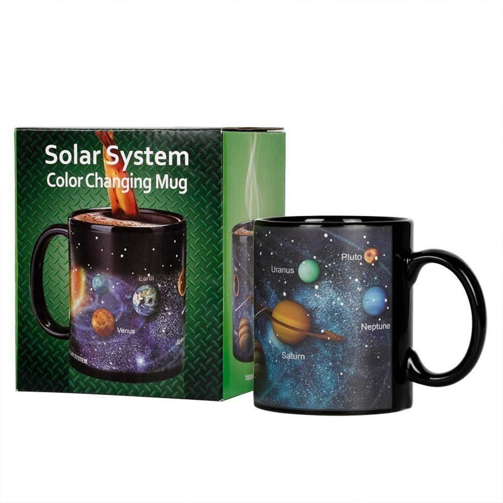 Heat Sensitive Color Changing Coffee Mug with Solar System Appear in the Night Sky,Novelty Porcelain Cup Tea Cup for Friends As Best Gift 3