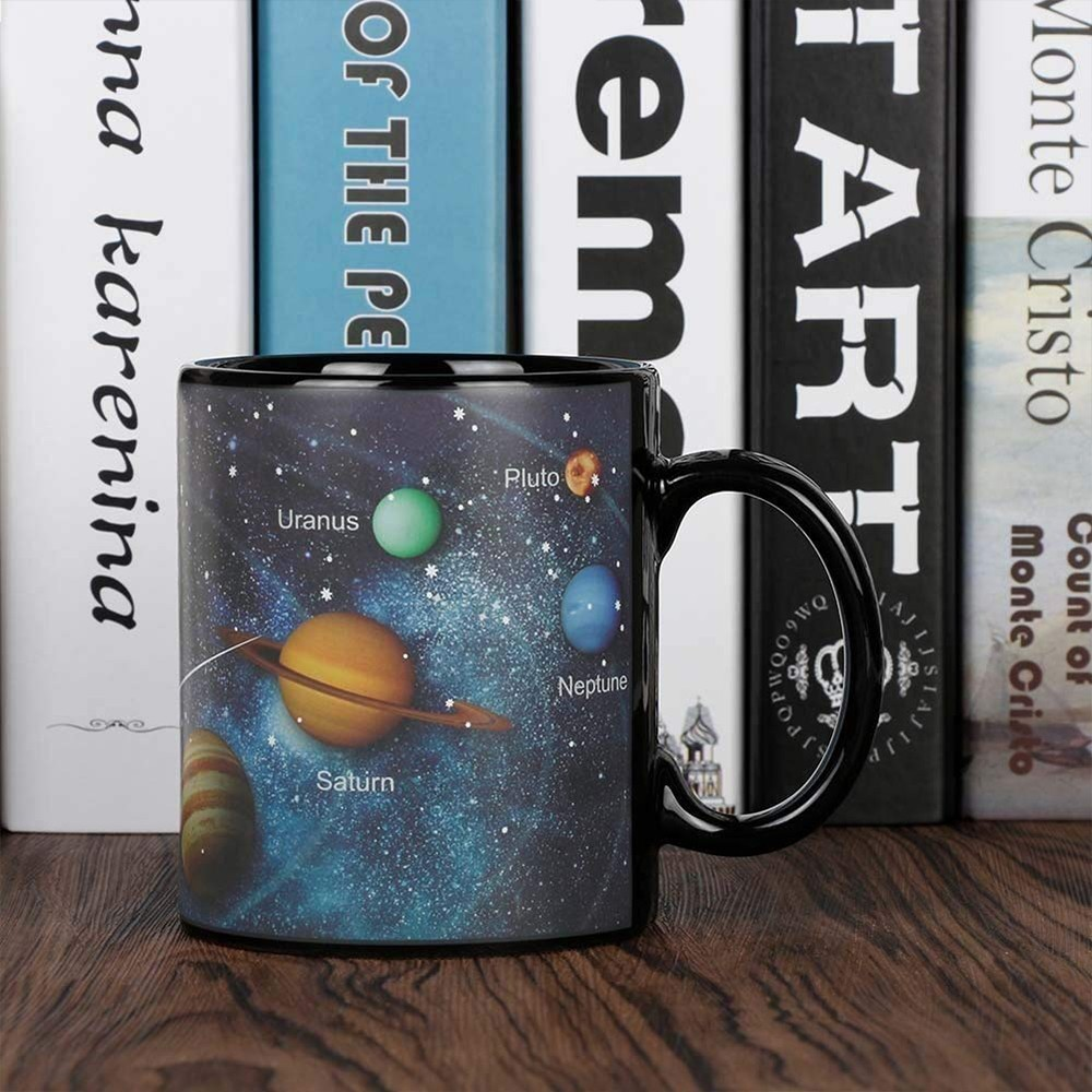 Heat Sensitive Color Changing Coffee Mug with Solar System Appear in the Night Sky,Novelty Porcelain Cup Tea Cup for Friends As Best Gift 5