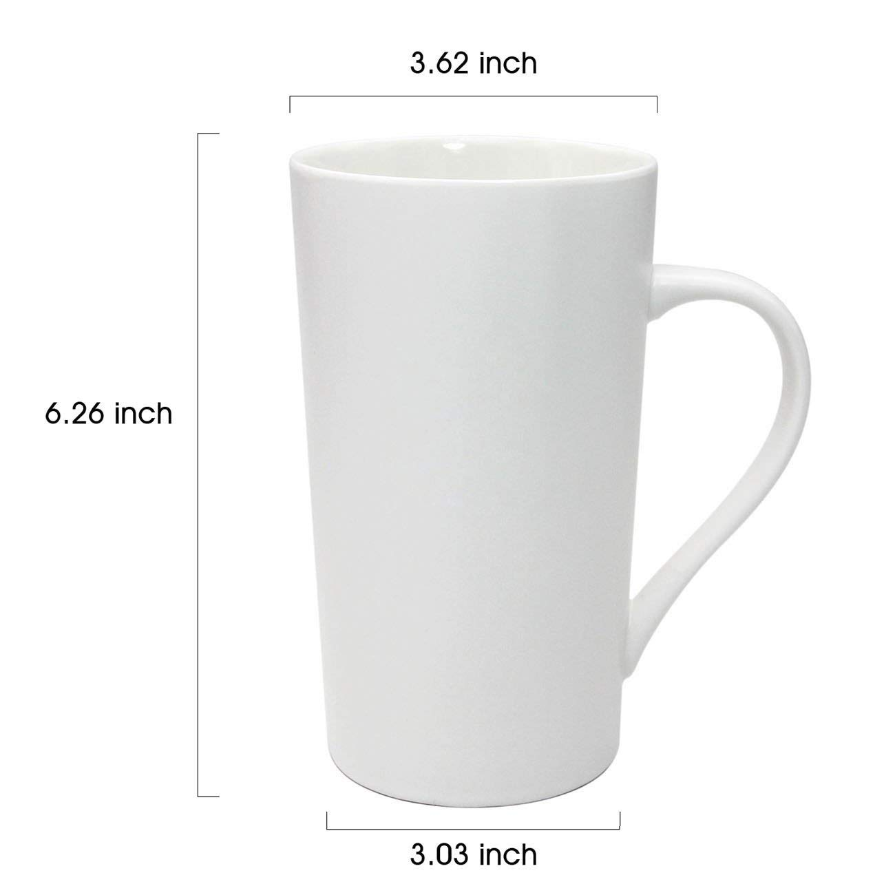 Large 20 oz Ceramic Coffee Mug,Set of 2 Durable Hot Cocoa & Tea Mug,White 6