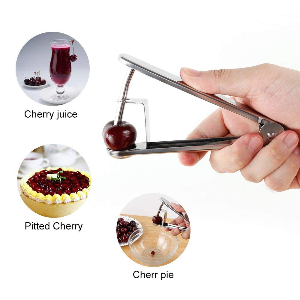 Stainless Steel Cherry Pitter, Olive and Cherry Pitting Tool for Making Cherry Cake Pasty Juice Jam Safer and Healthier 3