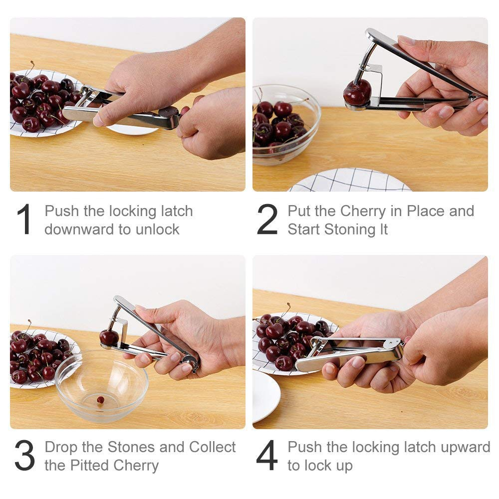 Stainless Steel Cherry Pitter, Olive and Cherry Pitting Tool for Making Cherry Cake Pasty Juice Jam Safer and Healthier 4