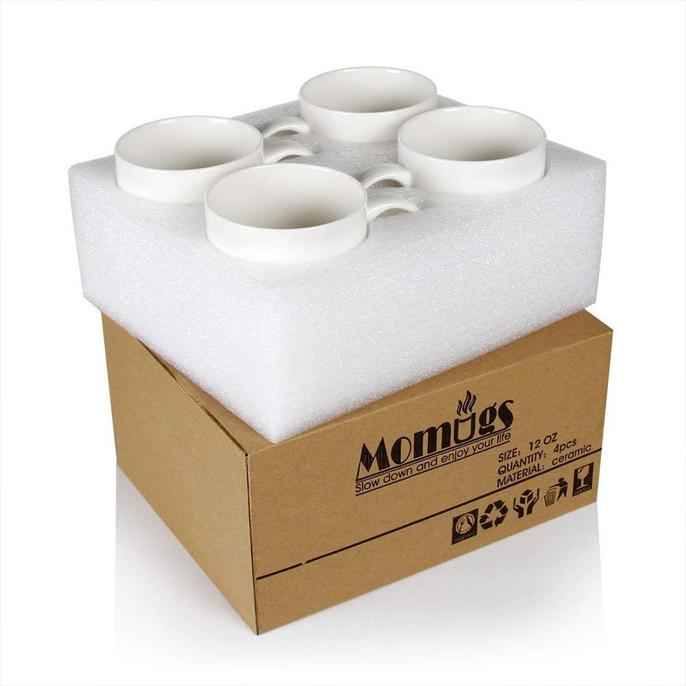Classic Coffee Mugs, 12 oz Perfect Ceramic Tea Mug, White, Set of 4 5