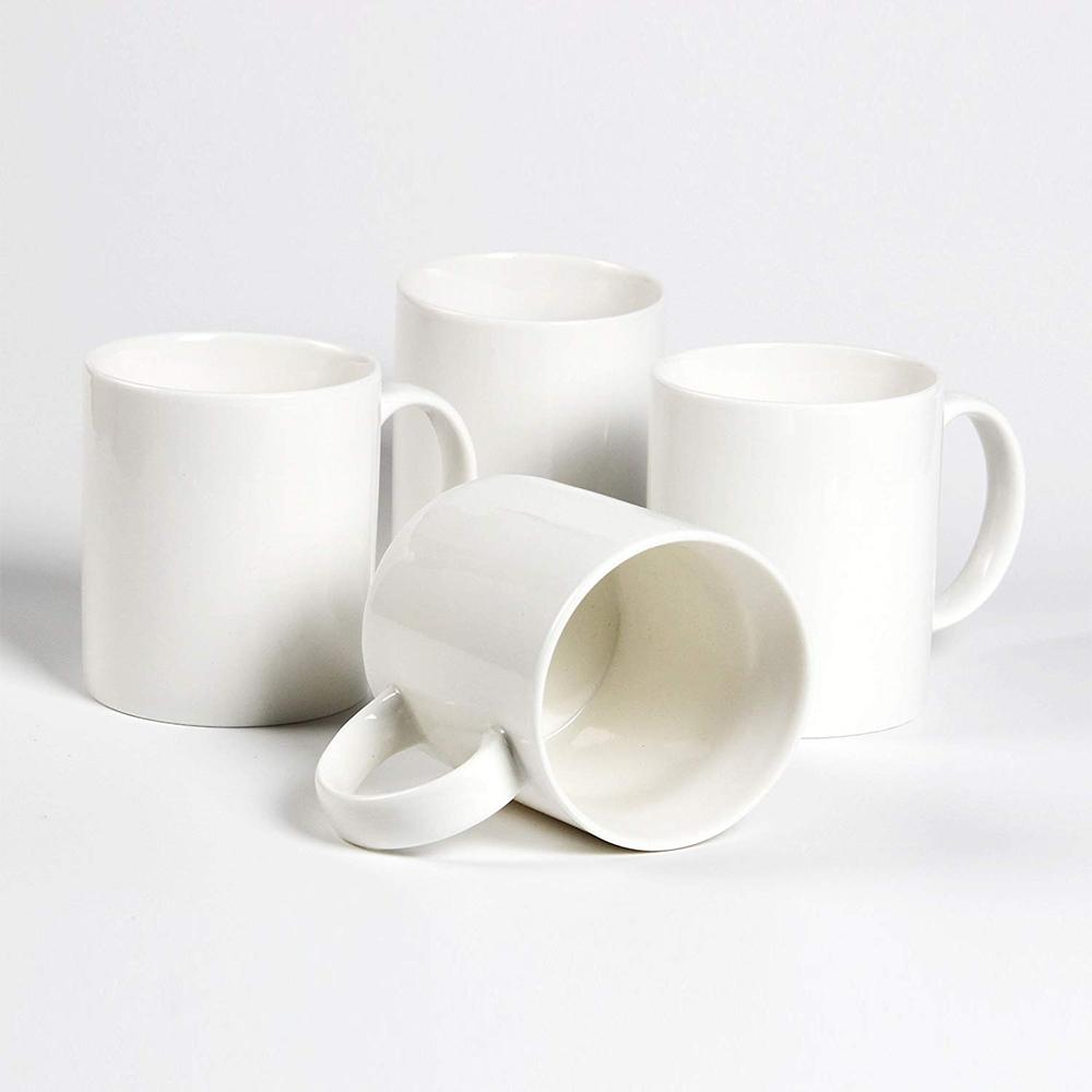 Classic Coffee Mugs, 12 oz Perfect Ceramic Tea Mug, White, Set of 4 10