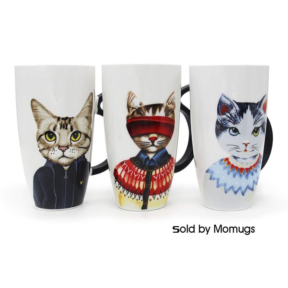 Novelty Coffee Ceramic Mug with Cartoon Cat Printing,Funny Porcelain Latte Tea Cup, 20 ounce 0