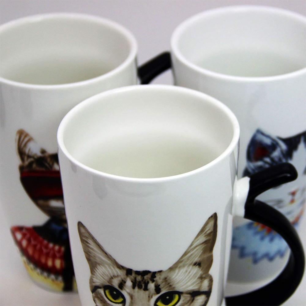 Novelty Coffee Ceramic Mug with Cartoon Cat Printing,Funny Porcelain Latte Tea Cup, 20 ounce 3